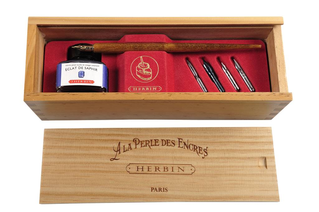 Calligraphy gift set in wooden presentation box with Herbin inks nibs and nib holder by Irish Pens handmade in Ireland