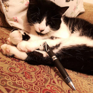 Cat lovers writing pen with lots of cat detail handmade in Ireland by Irish pens