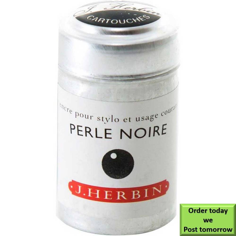 Herbin Perle Noire (Black Pearl) fountain pen ink 6 cartridge
