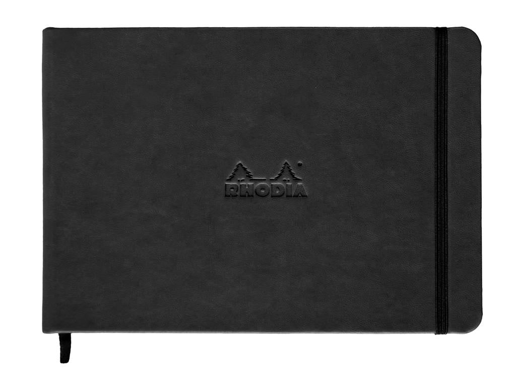 Rhodia web notebook Black Italian leather imitation cover ruled lines Landscape