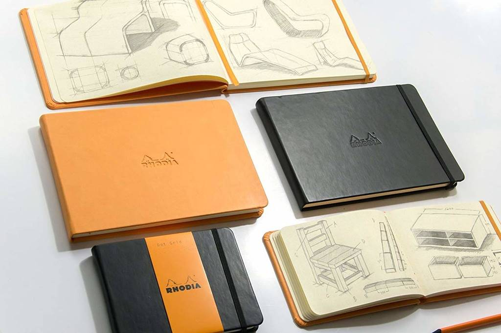 Rhodia web notebook Black Italian leather imitation cover dot grid Landscape