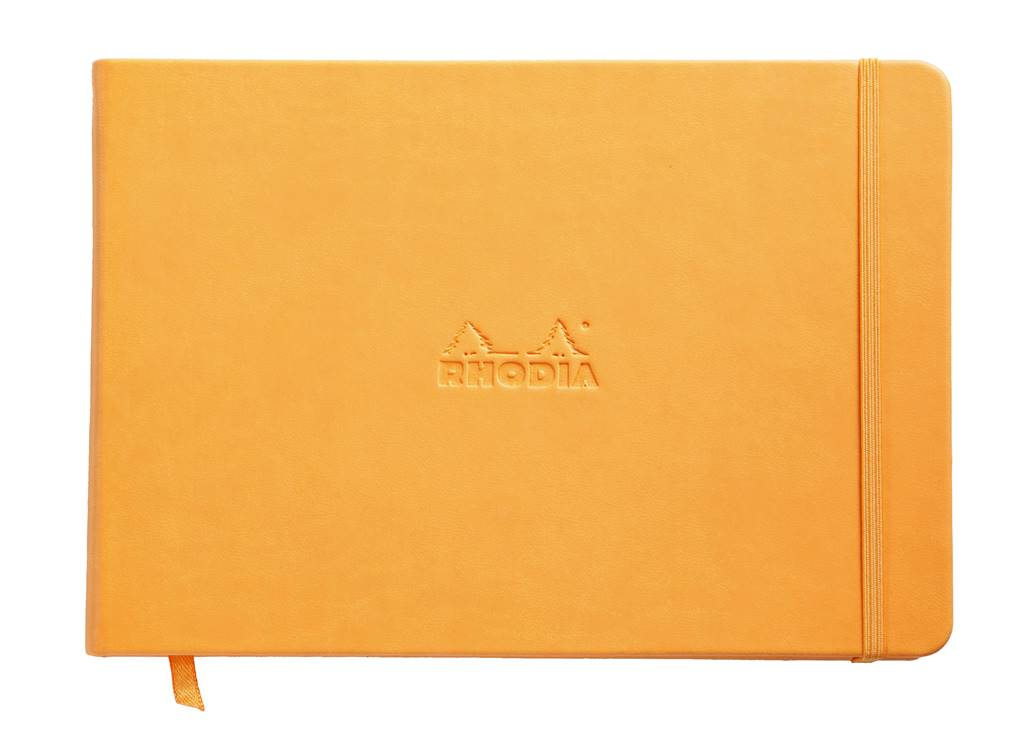 Rhodia web notebook Orange Italian imitation cover dot grid Landscape