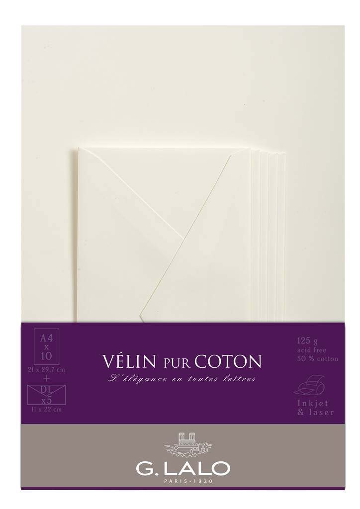Vélin pur Coton writing set Crema
