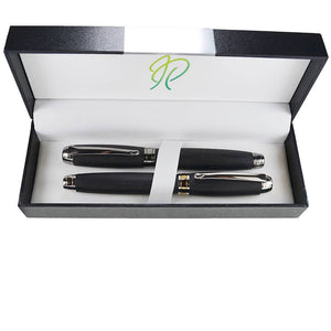 Writing gift set in bog oak Eclipse fountain pen and Rhodium rollerball pen from Woodland range