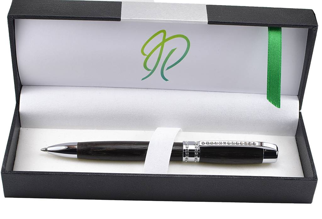 Swarovski stone bog oak gift handmade in Ireland by Irish pens