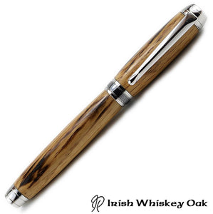 Jameson whiskey wood fountain pen handmade in Ireland by Irish Pens