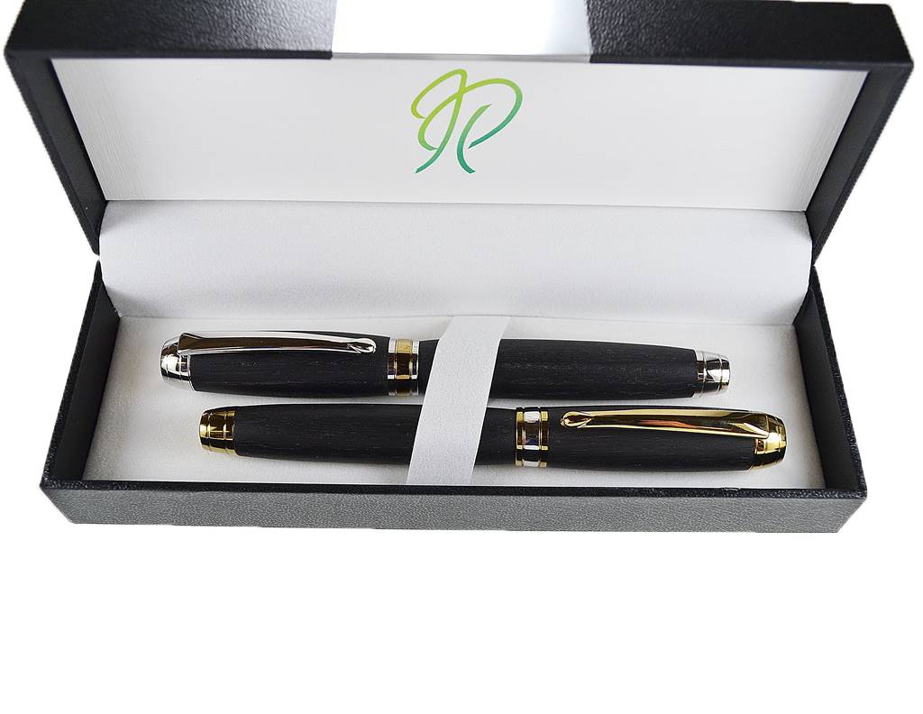writing pen gift set fountain pen ballpoint pen handmade in Ireland from bog oak