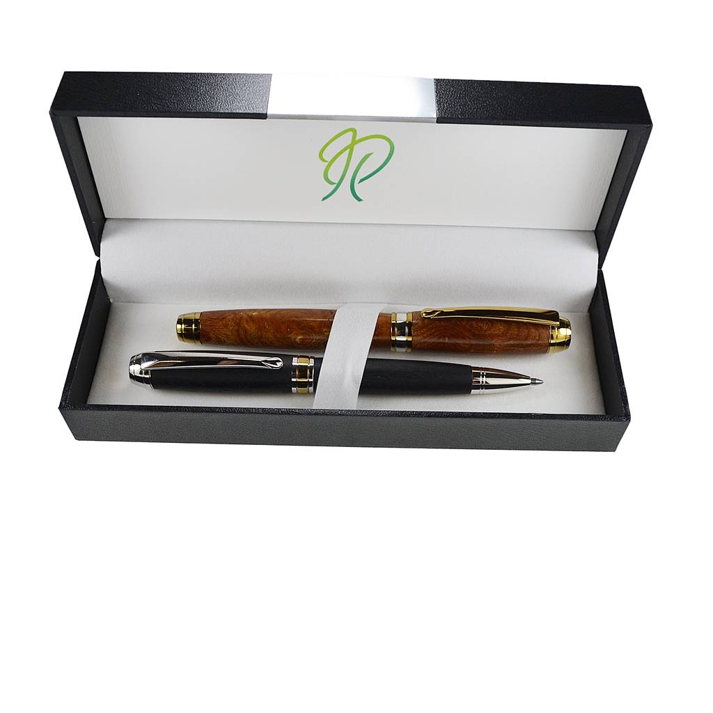 Writing pen gift set in Irish burled Elm and bog oak from our Woodland range
