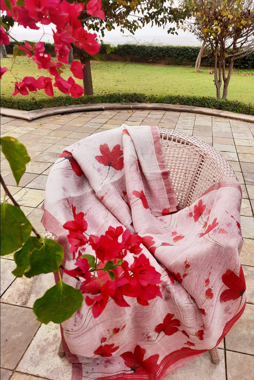 Red lily Digital Printed Linen Saree