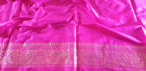 Pure katan banarasi saree with pink blouse piece