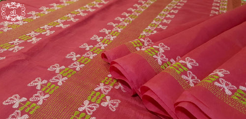 Pink Chanderi Kantha Stitch Saree