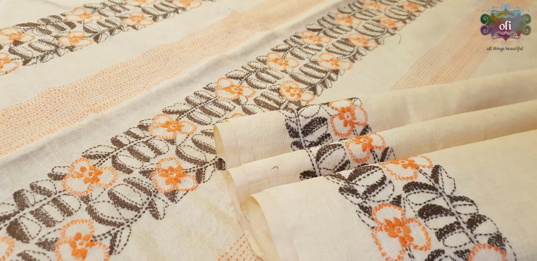 Off-White Chanderi Kantha Stitch Saree