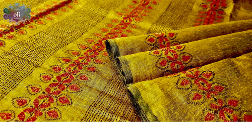 Mustard Golden Chanderi Kantha Stitch Saree