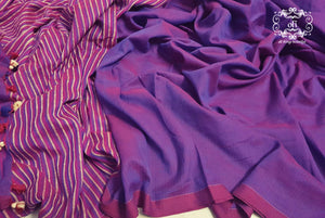 Purple-Blue Dual Tone Cotton Saree