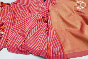 Burnt Orange-Red Dual Tone Cotton Saree