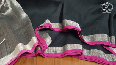 Black Linen Cotton Silver Border Handloom Saree