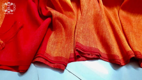 Sunset Orange Red Cotton Linen Handloom Borderless Saree