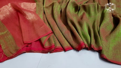 Red-Green Dual Tone Zari Palla Borderless Linen Cotton Saree