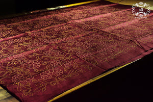 Maroon Pure Silk Kantha Stitch Saree