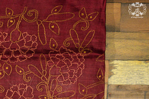 Hand embroidered Kantha Stitch Saree