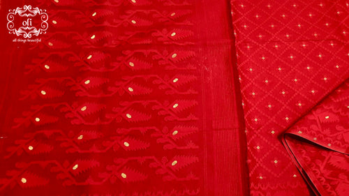 Red Golden Boota Dhakai Jamdani Saree