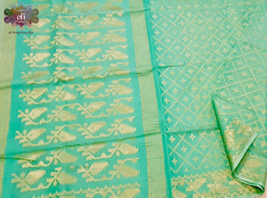 Pista Green Golden Zari Pure Dhakai Jamdani Saree
