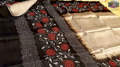 Grey Black Pure Silk Kantha Stitch Saree