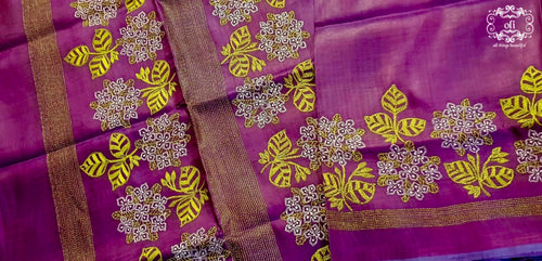 Ixora Pure Silk Kantha Stitch Saree