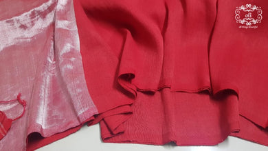 Red Pure Cotton Linen Borderless Saree with Silver Zari pallu