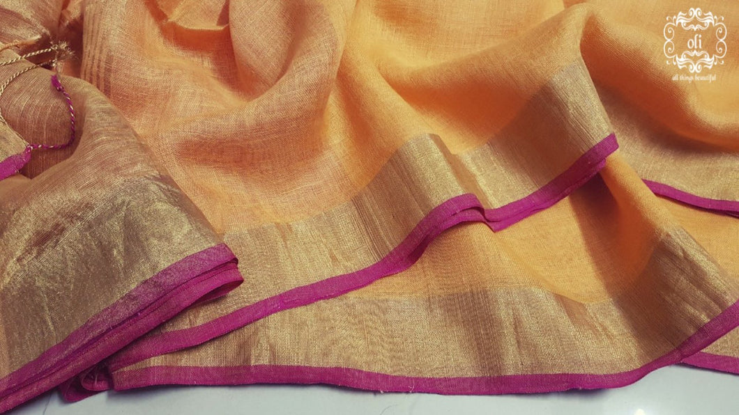 Orange Pure Linen Saree