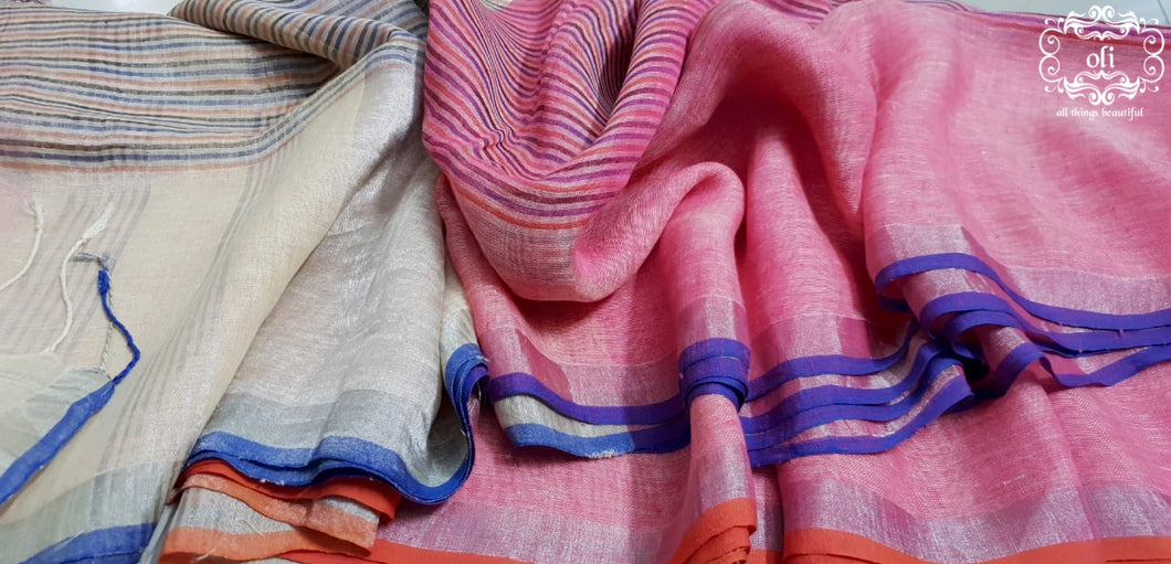Pink Stripped Pure Linen Saree