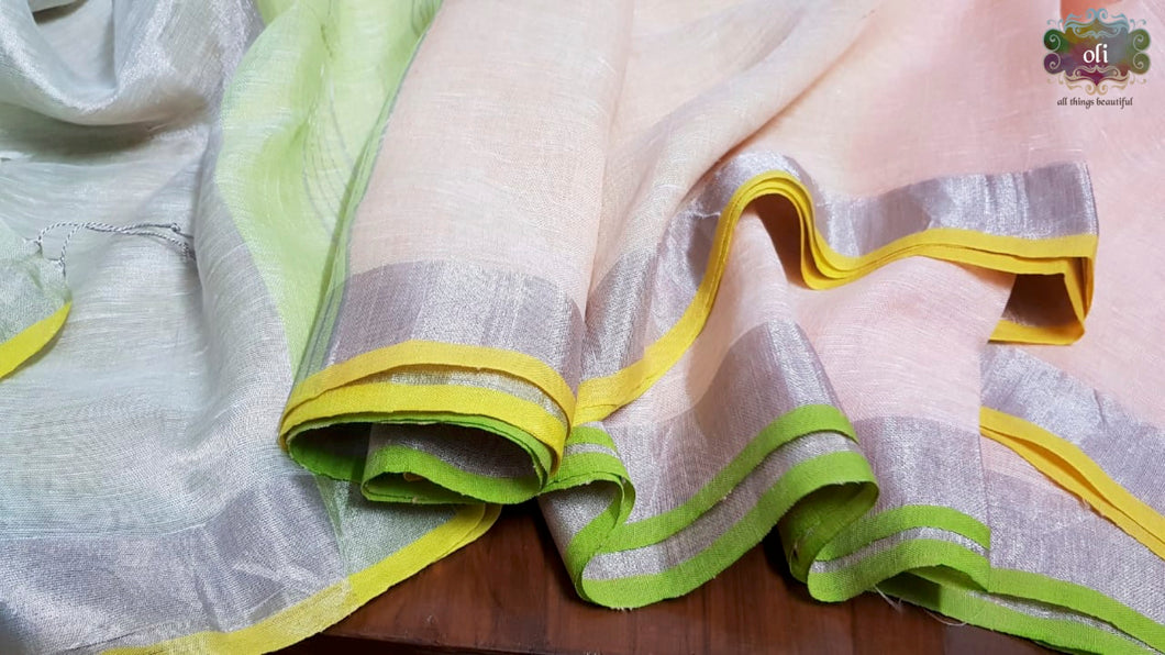 Cream Pure Linen Ganga Jamuna Saree