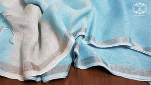 Ice Blue Pure Linen Saree with Silver border