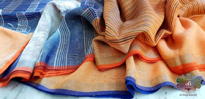 Pure Linen Stripped Saree