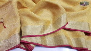 Golden Yellow Pure Linen Saree