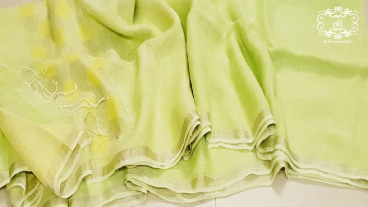Green Pure Linen Jamdani Saree
