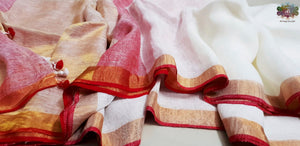 Pure white linen saree with red pallu and golden border