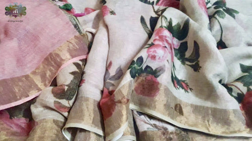 Floral Digital  Printed Pure Linen Saree