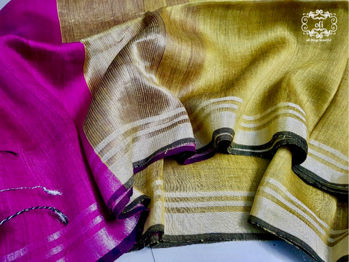 Magenta Golden Mustard Pure Silk Linen Saree
