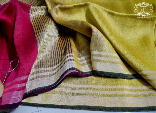 Pure Silk Linen Party Wear Saree