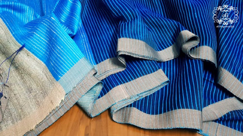 Blue Stripped Handloom Silk Saree
