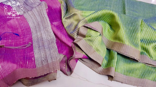 Magenta with Sage Green Handloom Silk Saree
