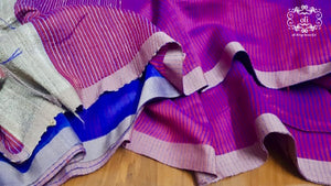Magenta Stripped Handloom Silk Saree