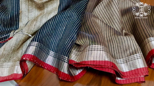 Grey Brown Red Silver Border Handloom Silk Saree