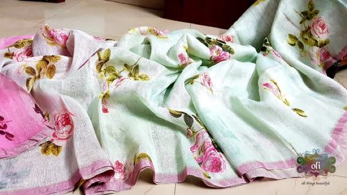 Digital Printed Silk Linen Saree