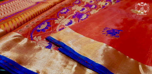 Red Pure Tussar Silk Saree