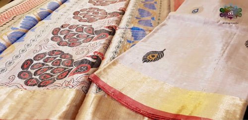 Chandan Mor Boota Tussar Silk Saree