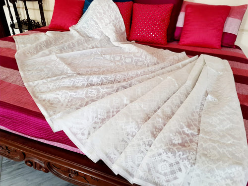 White Pure Cotton Dhakai Jamdani Saree