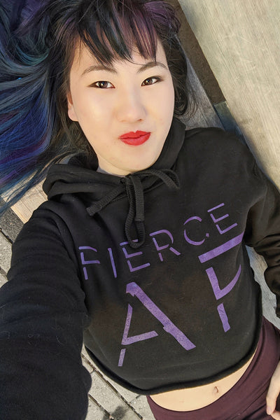 Fierce AF Hoodie Crop Top (Black)