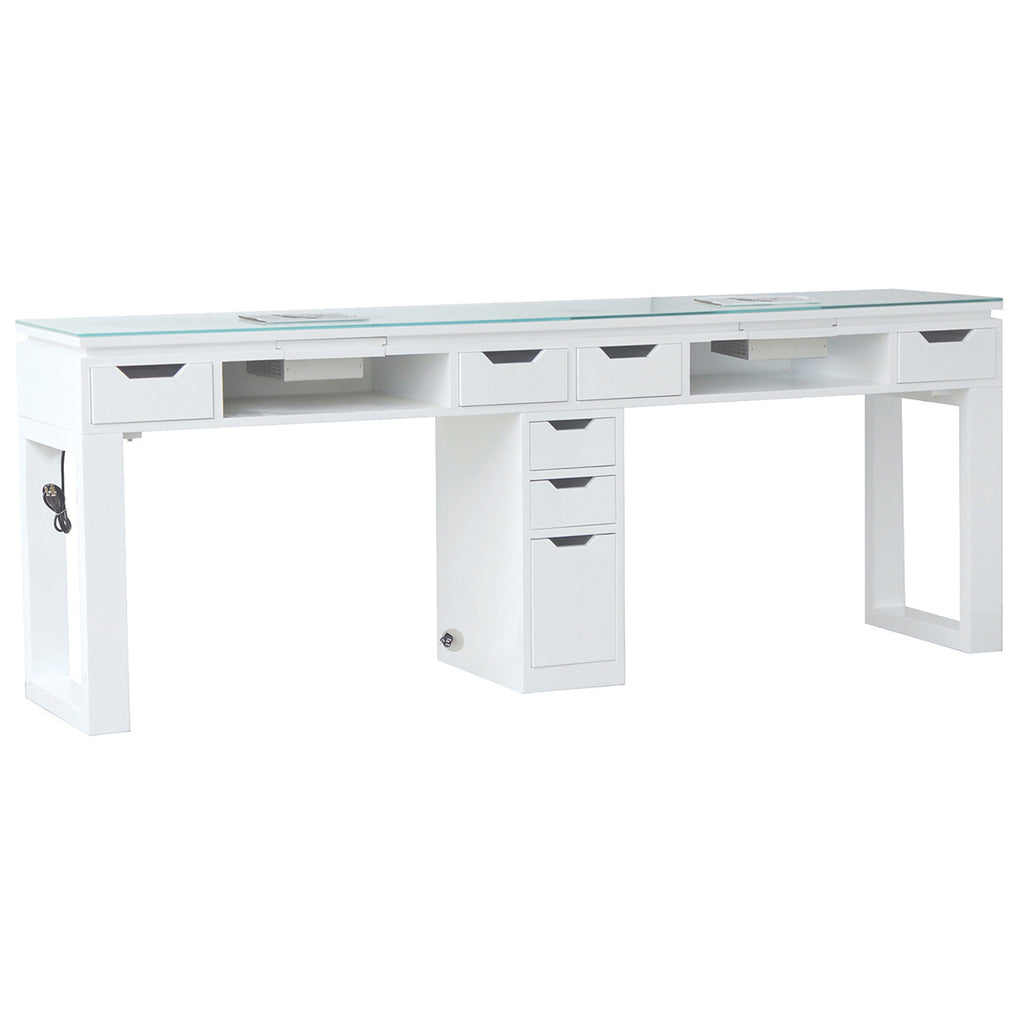 Valentino LUX Double Manicure Table - White - Tech Side